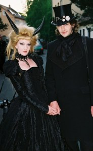 A Goth couple poses at Wave Gotik Treffen 2008 Leipzig Germany (image courtesy fluffy_steve).