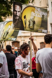 A 2012 Brazilian zombie walk included zombies advertising The Walking Dead (image courtesy Grmisiti).