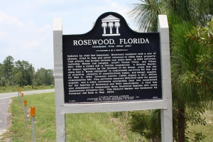 A modest marker is the sole memorial of the former site of Rosewood (image courtesy Richard Elsey).