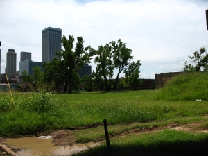 This 2008 image of one of the neighborhood's touched by the 1921 Tulsa  riot was eventually cleared by urban renewal projects in the 1960s and 1970s.  The neighborhood is today part of the John Hope Franklin Reconciliation Park (image courtesy imarcc).