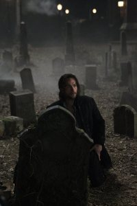 Ichabod Crane has traveled across time but inevitably ends up in a graveyard (image Fox).