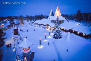Santa Claus Village and the Arctic Circle line in the midst of winter (image from Santatelevision).