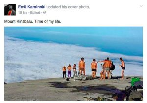 Disrobing on Mount Kinabalu.