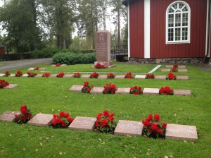 Soldiers' graves at the Kiiminki Church in northern Finland.