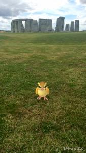 Capturing a Pokemon at Stonehenge (image English Heritage)