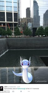 A Pokeon Go screenshot at the Sept. 11 Memorial